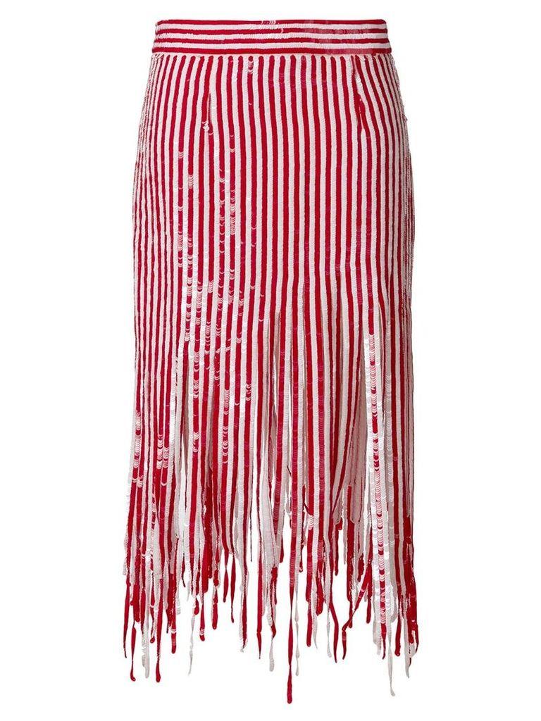 Monse mid-length fringed skirt - Red