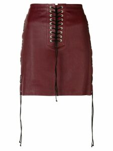 Unravel Project lace-up detail skirt - Red