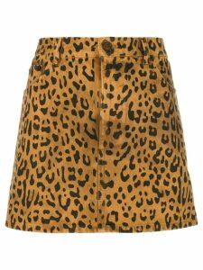 Saint Laurent leopard print mini skirt - Brown