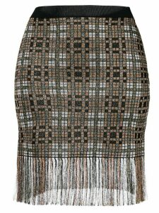Christopher Kane fringed check skirt - Brown