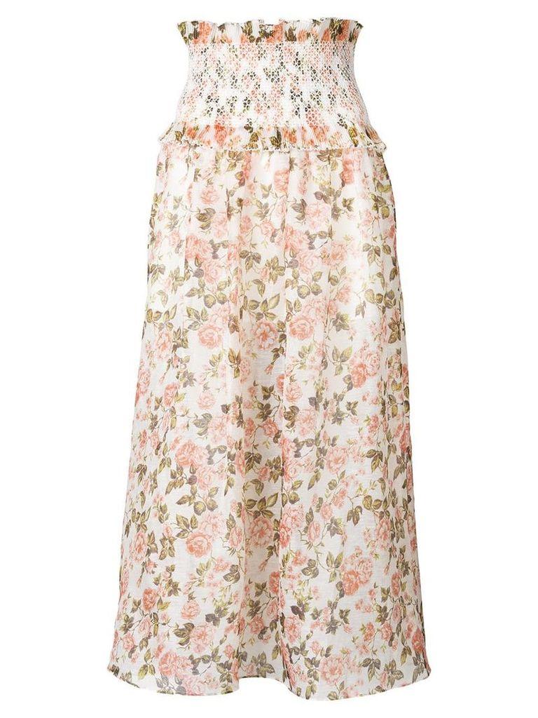 Zimmermann floral ruched skirt - Neutrals