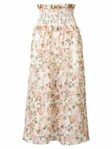 Zimmermann floral ruched skirt - Neutrals