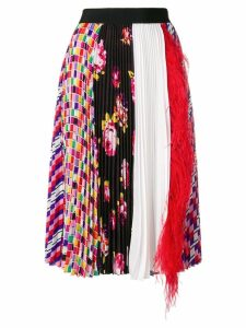 MSGM pleated feather-embellished skirt - Multicolour