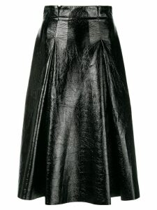 Three Floor vernished flared skirt - Black