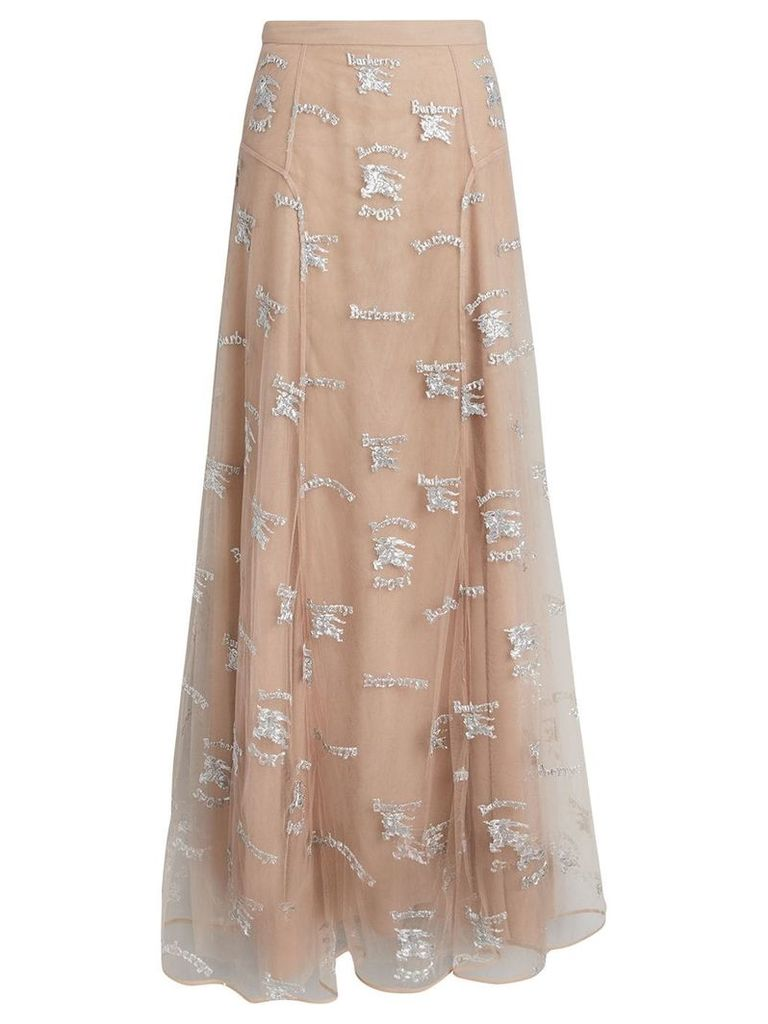 Burberry Equestrian Knight Embroidered Tulle Skirt - Neutrals