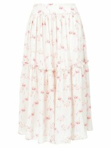 Olympiah flamingo print midi skirt - White