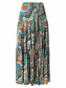 La Doublej fiammiferi print tiered skirt - Multicolour