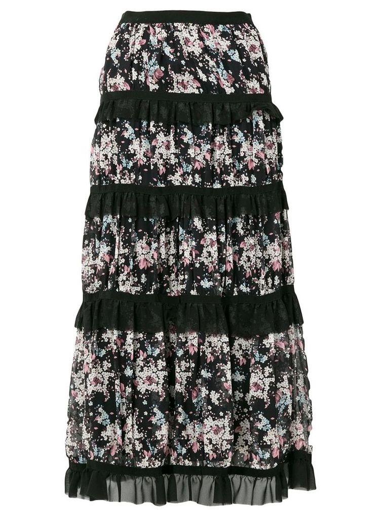 Giuseppe Di Morabito tiered floral skirt - Black