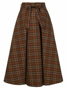 MSGM checked flared skirt - Brown