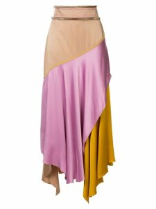 Peter Pilotto colour-block flared midi skirt - Pink