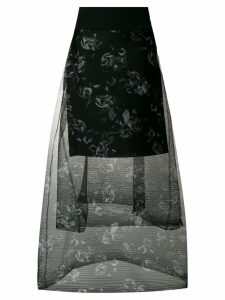 Dorothee Schumacher tiered floral printed sheer skirt - Black