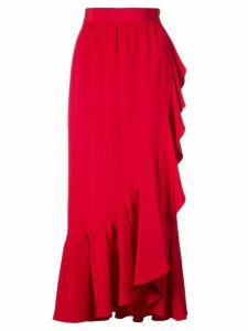 Adam Lippes ruffled asymmetric midi skirt - Red