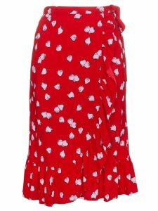 Miu Miu strawberry print ruffle wrap skirt - Red
