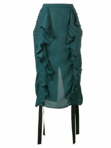 Marco De Vincenzo ruched ruffle pencil skirt - Green