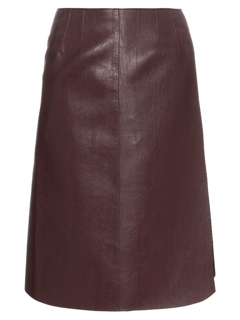 We11done high waisted faux leather wrap skirt - PINK