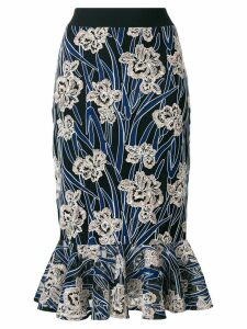 Three Floor Valentina floral mermaid skirt - Blue
