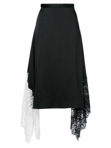 Christopher Kane lace trim satin skirt - Black