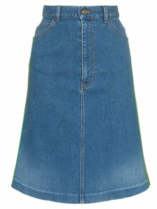 Gucci contrast side stripe A-line denim skirt - Blue