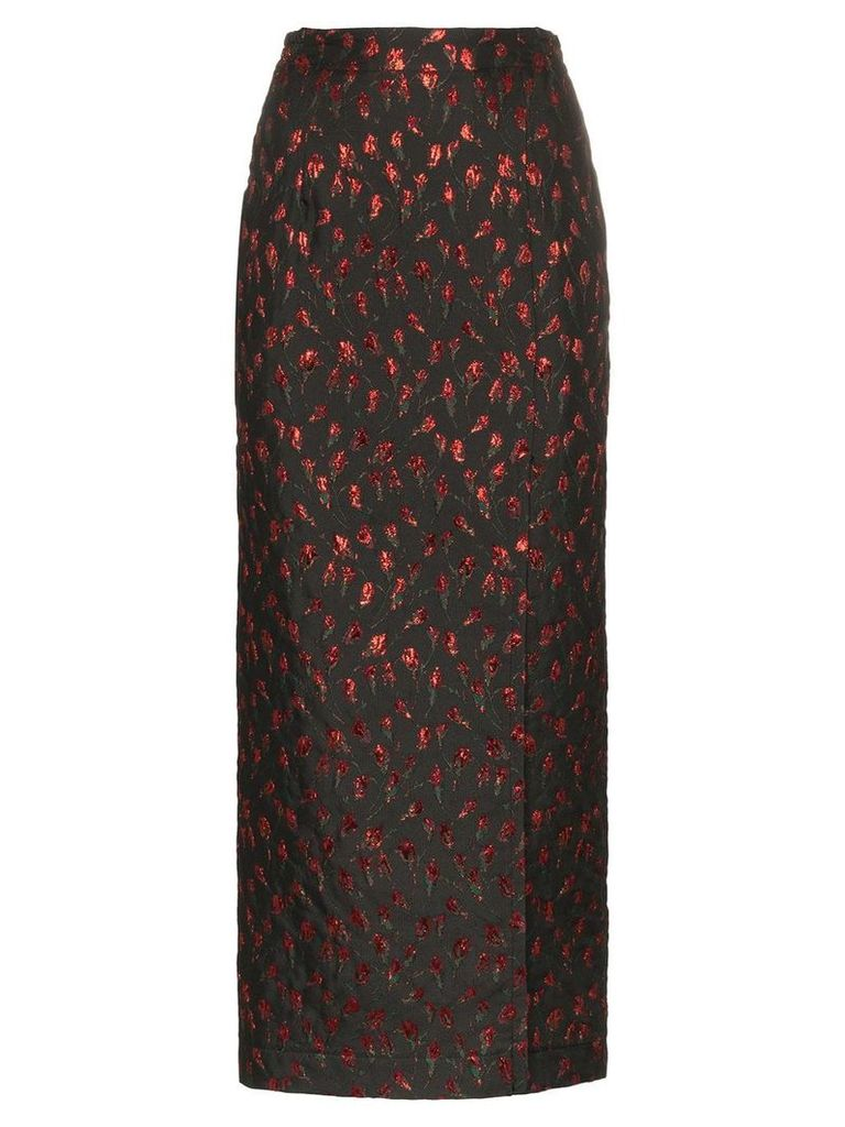 Attico high waist rose jacquard midi skirt - Black