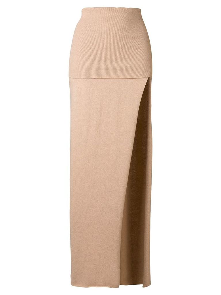 Jacquemus knitted side slit skirt - Neutrals