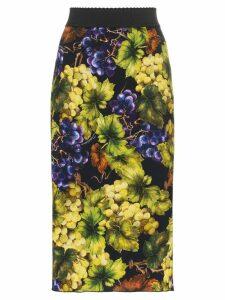 Dolce & Gabbana Grape-print silk-blend cady midi skirt - Green