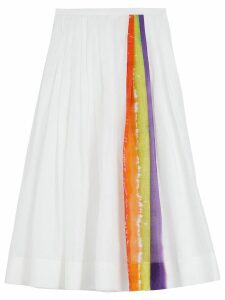 Burberry Rainbow Print Organdie Cotton Skirt - White
