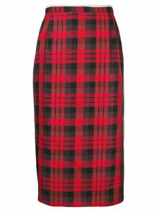 Nº21 tartan midi pencil skirt - Red