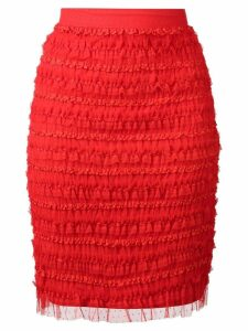 Givenchy ruffle embellished pencil skirt - Red