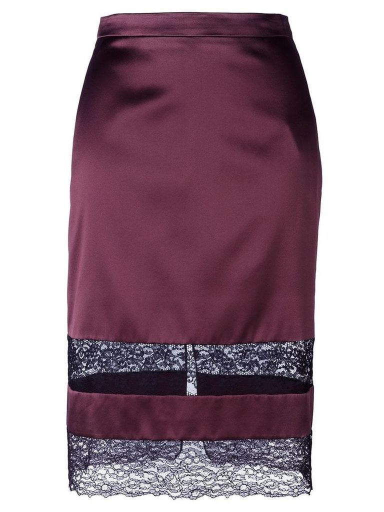 Givenchy lace panel pencil skirt - Red