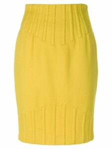 Thierry Mugler Pre-Owned rib detail pencil skirt - Yellow