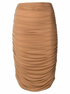 Norma Kamali high-waisted skirt - Brown