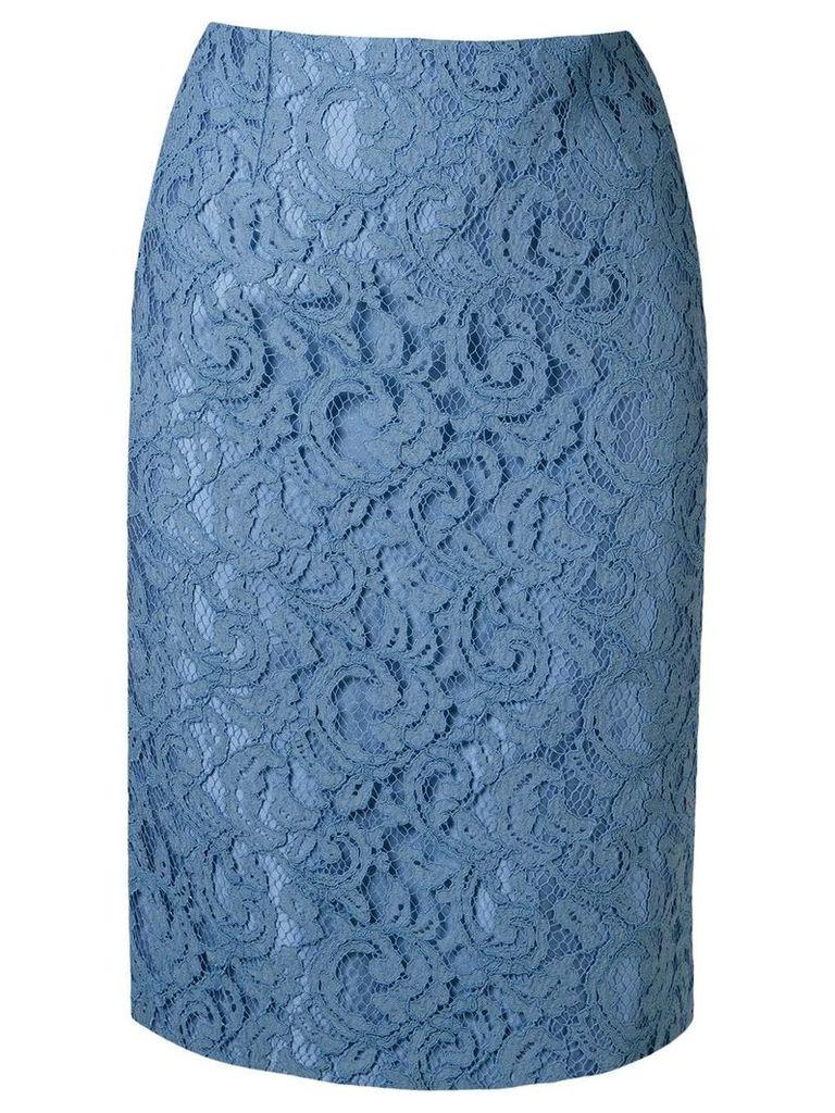 Martha Medeiros lace pencil skirt - Blue
