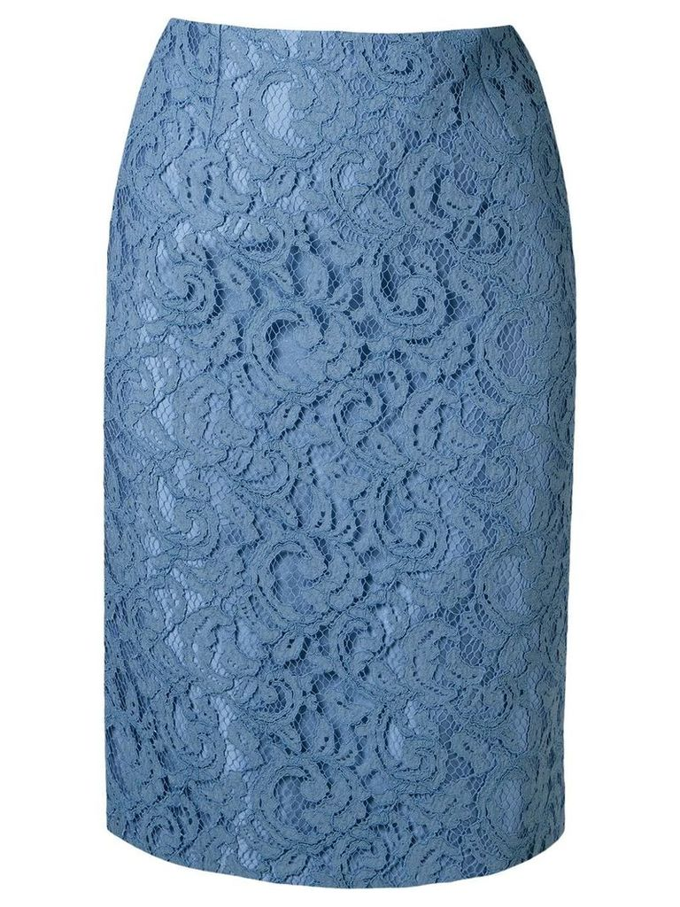 Martha Medeiros lace pencil skirt - Blue