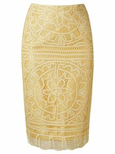 Martha Medeiros 'renascença' lace pencil skirt - Yellow