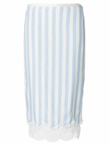 Rochas striped lace trim pencil skirt - White