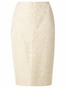 Martha Medeiros jacquard Judith pencil skirt - Neutrals