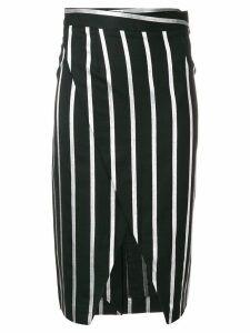 Each X Other striped wrap-front pencil skirt - Black