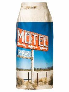 Nº21 motel-print pencil skirt - Blue
