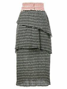 Rosie Assoulin gingham tiered skirt - Black