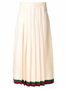 Gucci pleated midi skirt with Web trim - Neutrals