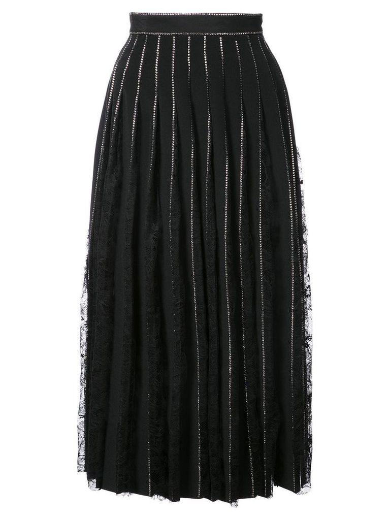 Adam Lippes crystal embellished pleated skirt - Black