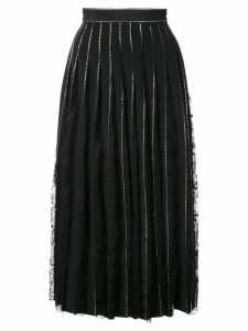 Adam Lippes crystal embellished pleated skirt - Black