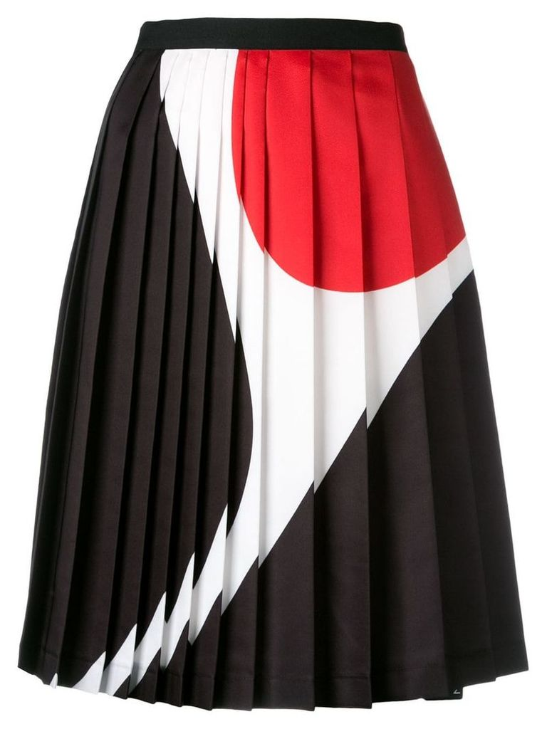 Neil Barrett geometric print pleated skirt - Black