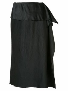 Issey Miyake draped detail pleated skirt - Black