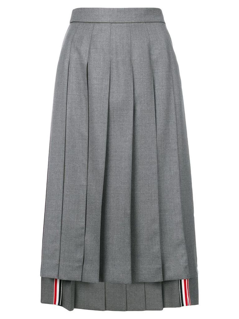 Thom Browne asymmetric pleated skirt - Grey