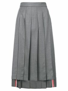 Thom Browne asymmetric pleated skirt - Grey