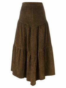 Saint Laurent long frill skirt - Brown