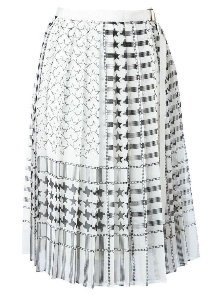 Sacai stars and stripes midi kilt skirt - White