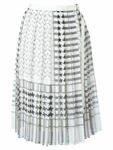 Sacai stars and stripes midi kilt skirt - White