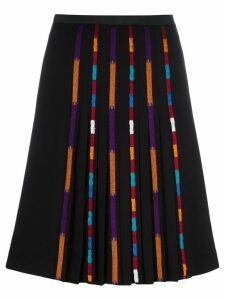 Etro stripe detail pleated skirt - Black
